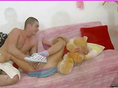 Brianna is home alone playing with her teddy bear when this babe is lastly approached by her stud. This Guy goes down on her cookie and laps up each drop of her moist snatch and then this guy bonks her slit hole with a purple sex-toy. That Guy fingers her constricted little chocolate hole as this guy stretches the muscle. This Babe takes a double penetration of the sextoy and his fingers in her holes. BriannaтАЩs booty is priceless and constricted and heтАЩs doing his most good to stretch it for his dick as this chab fingers her and stretches her muscle. Then little Brianna takes him in her mouth as heтАЩs still trying to stretch her open for his shlong. That Guy copulates her cum-hole for several minutes and then starts the task of putting the tip of his rod her butt in as that babe squirms. Lastly that babe sucks him off on the love-seat as that guy cums in her mouth.
