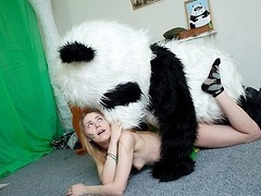 What's the most excellent way to talk the panda bear to join the army? Maybe a sexy breasty teenage hottie in a military outfit can do that? That Babe was very stern and tried to train him to march and to work out. But the panda bear's got smth else on his mind! This Chab's gonna train the cutie to have fun with sex! And as pretty soon as the sexy chick saw this shiny large dong of his, this babe forgot all about the army and plunged into fun fucking with the horny bear. Watch, the good old slogan `Make love not war` still works for chicks :)